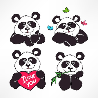 Ensemble de quatre illustration de pandas souriant mignon