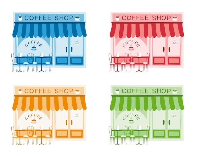 Ensemble de quatre illustrations vectorielles de l'avant du café