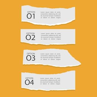 Ensemble de quatre infographies de papier déchiré avec chiffres et texte