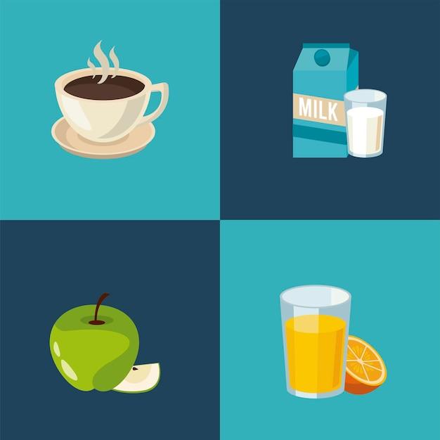 Ensemble de quatre ingrédients du petit déjeuner mis icônes