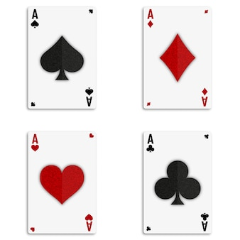 Ensemble de quatre jeux de cartes as