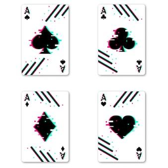 Ensemble de quatre jeux de cartes as