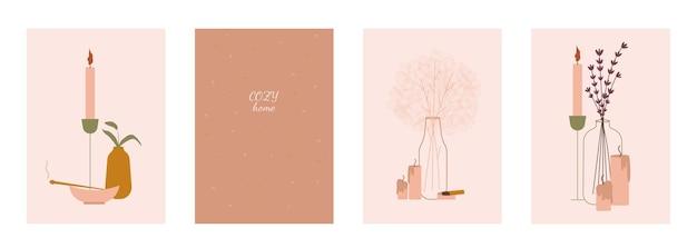 Ensemble de quatre modèles d'affiches roses