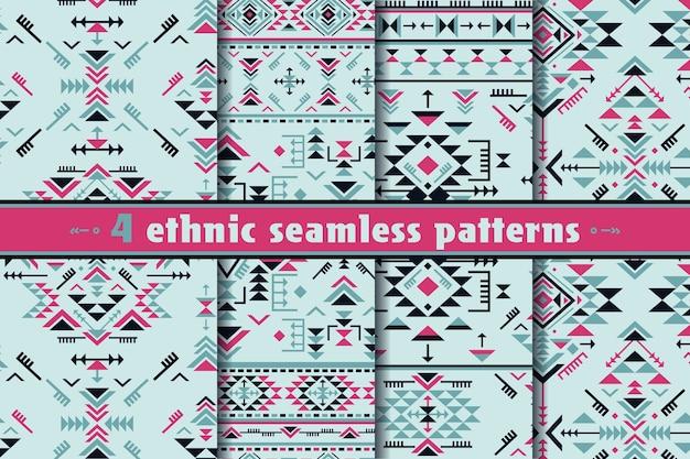 Ensemble de quatre modèles sans soudure ethniques colorés avec des formes géométriques.