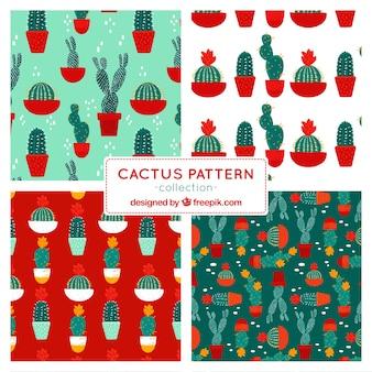 Ensemble de quatre motifs de cactus
