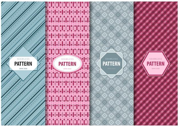 Ensemble de quatre motifs géométriques abstraits sans couture avec cadre de texte décoratif