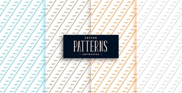 Ensemble de quatre motifs géométriques de lignes diagonales classiques
