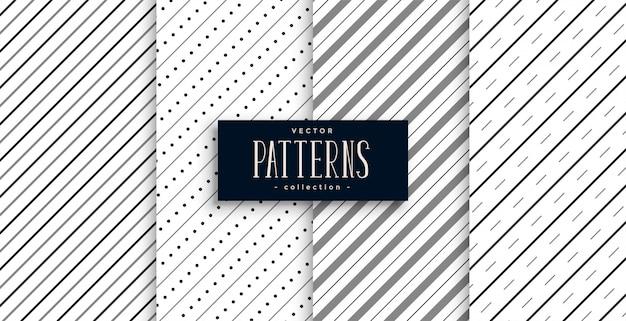Ensemble de quatre motifs de lignes de rayures diagonales