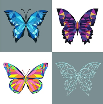 Ensemble de quatre papillons colorés polygonaux pour la conception de panneaux web