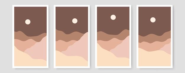 Ensemble de quatre paysages modernes abstraits esthétiques du milieu du siècle design bohème contemporain. art mural illustrations minimales et naturelles