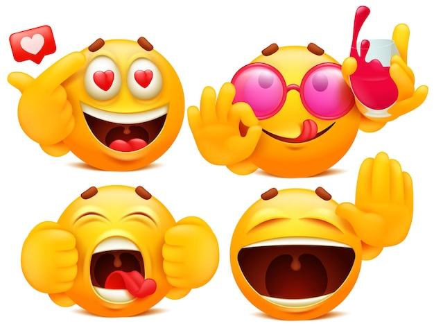 Ensemble de quatre personnages emoji de dessin animé jaune dans diverses situations.