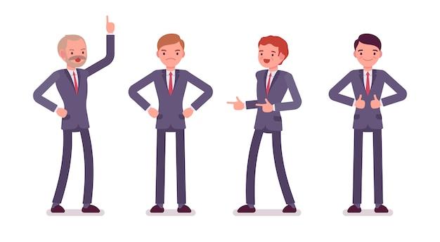 Ensemble de quatre personnages masculins des affaires