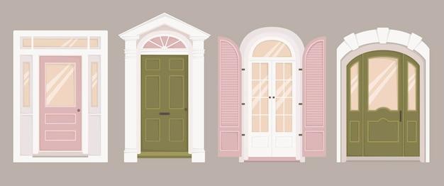 Ensemble de quatre portes classiques de différentes formes et couleurs. styles architecturaux.