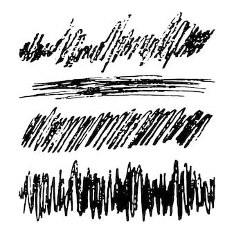 Ensemble de quatre rectangles de frottis sketch scribble. griffonnage au crayon dessiné à la main. illustration vectorielle.