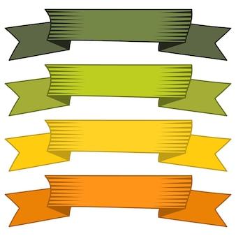 Ensemble de quatre rubans et bannières multicolores pour la conception web. grand élément de design isolé sur fond blanc. illustration vectorielle.