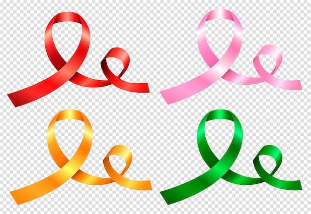 Ensemble de quatre rubans de couleurs aux couleurs rouge, rose, jaune et vert