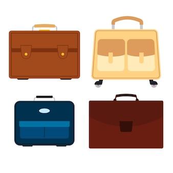 Ensemble de quatre sacs sur fond blanc. valise pour voyage de voyage dans un style plat. illustration vectorielle
