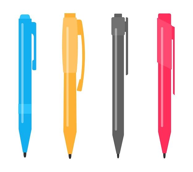 Ensemble de quatre stylos multicolores différents. illustration vectorielle