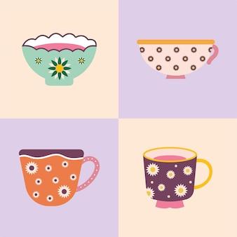 Ensemble de quatre tasses à thé et café