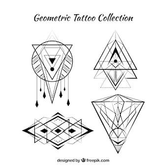 Ensemble de quatre tatouages géométriques boho
