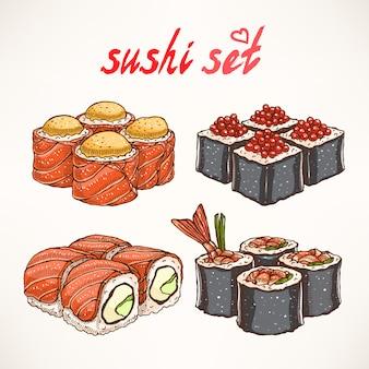 Ensemble de quatre types différents de délicieux rouleaux dessinés à la main