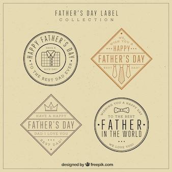 Ensemble de quatre vintage labels pour la fête des pères