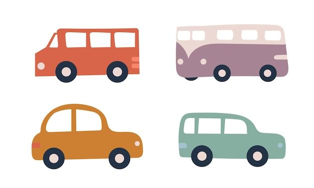 Ensemble de quatre voitures pastel sur fond blanc. dessiné à la main. voitures jouets
