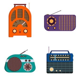 Ensemble de radios rétro. équipement obsolète en style cartoon.