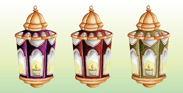 Ensemble de ramadan aquarelle lanterne arabe