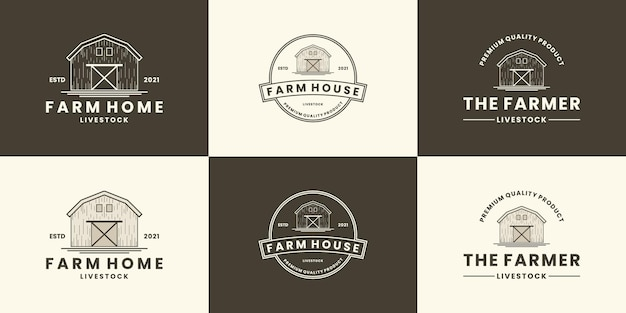 Ensemble de ranch agricole de conception de logo de maison de ferme, style rétro