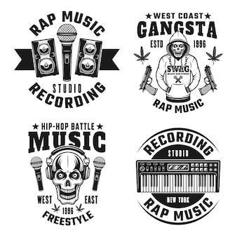 Ensemble rap et hip-hop de quatre emblèmes, étiquettes, badges ou logos monochromes vectoriels isolés sur fond blanc