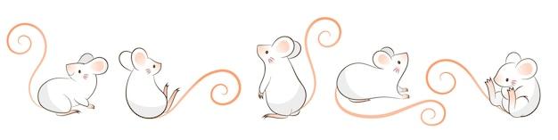 Ensemble de rats dessinés à la main, souris dans différentes poses, style cartoon doodley.