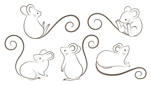Ensemble de rats dessinés à la main, souris dans des poses différentes sur fond blanc