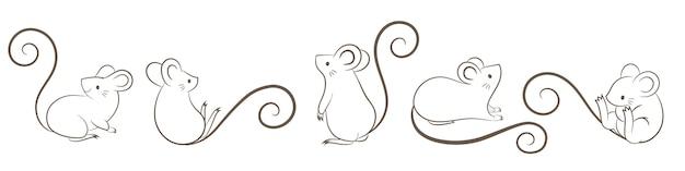 Ensemble de rats dessinés à la main, souris dans des poses différentes, style doodley de dessin animé.