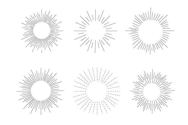Ensemble de rayons de soleil, effets d'explosion, griffonnages vintage isolés sur fond blanc