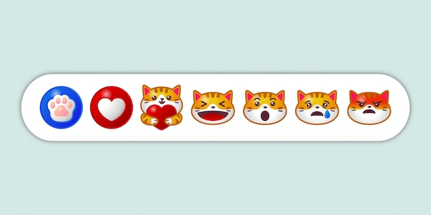 Ensemble de réaction de chat emoji de médias sociaux