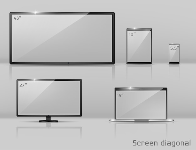 Ensemble réaliste 3d d'écrans différents - ordinateur portable, smartphone ou tablette.