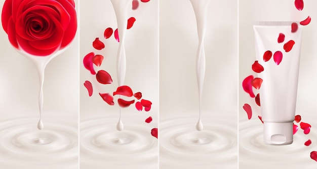 Ensemble réaliste de 3d goutte de lait, de yaourt, de crème, d'huile ou de peinture avec des ondulations, produit cosmétique avec de l'essence dégoulinant de fleur rose, tourbillonne des pétales tombant