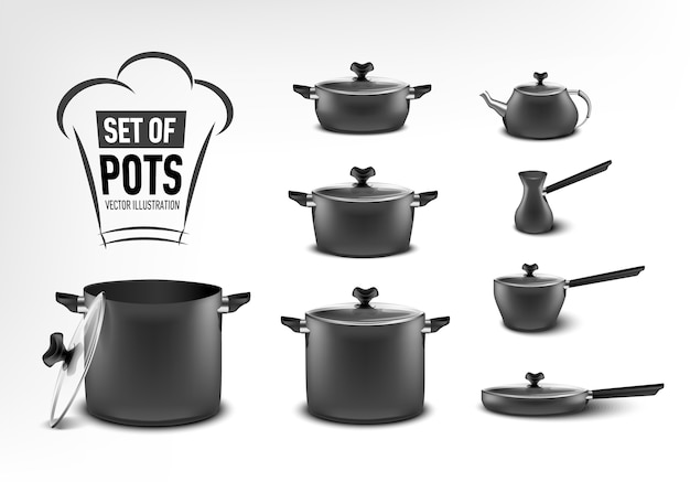 Ensemble réaliste d'appareils de cuisine noirs, pots de différentes tailles, cafetière, turc, ragoût, poêle, bouilloire