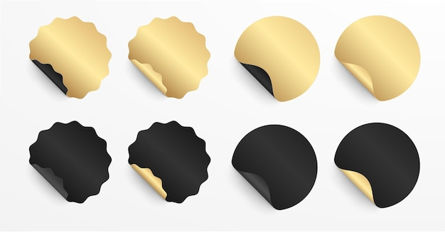 Ensemble réaliste d'autocollants ou de patchs en noir et or. des étiquettes vierges de différentes formes arrondissent et scellent le cercle. 3d
