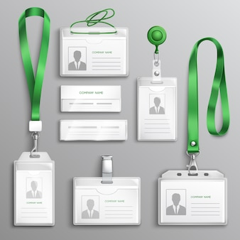 Ensemble réaliste de badges de cartes d'identité