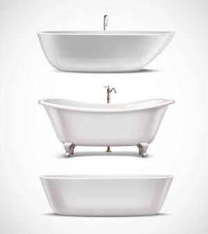 Ensemble réaliste de baignoires