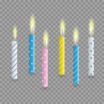 Ensemble réaliste de bougies de gâteau d'anniversaire