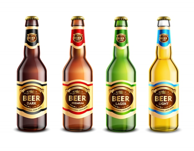 Ensemble réaliste de bouteilles de bière en verre