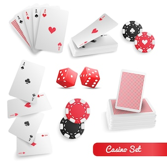 Ensemble réaliste de casino poker