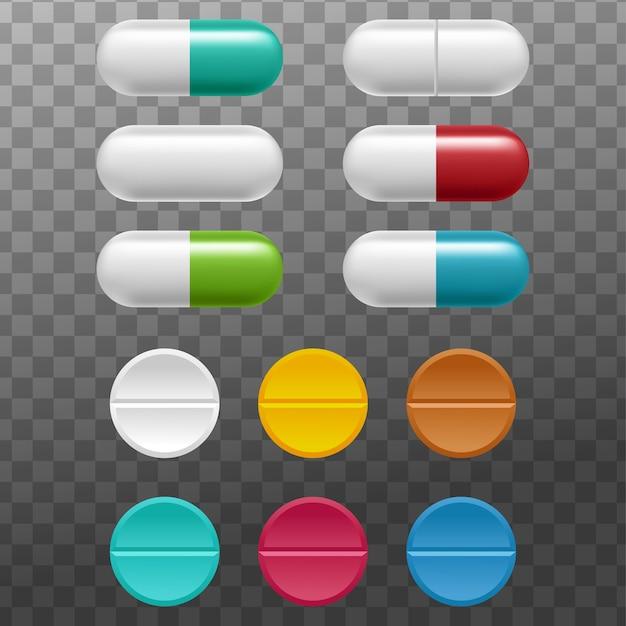 Ensemble réaliste de comprimés et de pilules