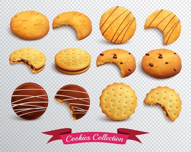 Ensemble réaliste de cookies de forme différente entiers et mordus isolés sur transparent