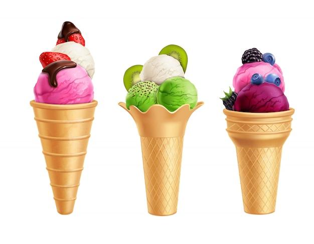Ensemble réaliste de crème glacée aux fruits