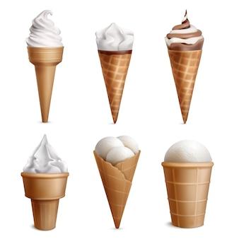Ensemble réaliste de crème glacée avec six glaces isolées dans des tasses de gaufrettes de forme différente avec illustration de garniture