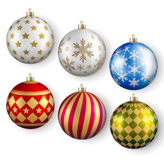 Ensemble réaliste de décoration festive de boule de noël
